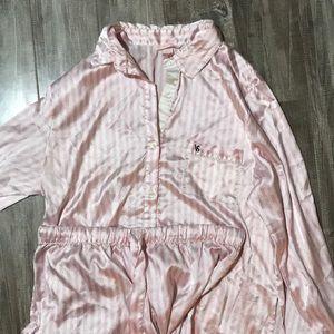 Victoria's Secret pink and white pajama set